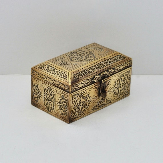 Antique Calligraphy: Antique Islamic Calligraphy Brass Casket Box