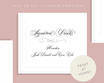 Wedding Printable Signature Drink Sign | Downloadable Signature Drink Sign | Reception Sign | Printable Bar Sign | Marian Collection