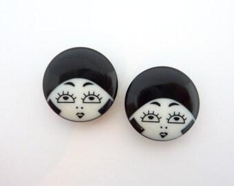 2 x 23mm Black & White Flapper Girl Buttons - Black Hat Variation