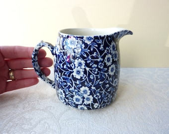 Vintage Burleigh Calico Cobalt Blue and White Jug - 3/4 Pint Capacity