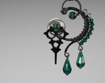Hekate v13: Bold emerald Swarovski crystal steampunk wire wrapped Pendant