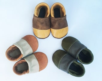 BASICS// Two-Tone LOAFERS Soft SoledLeather Shoes Baby and Toddler FREE ship in usa