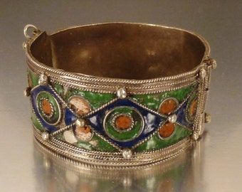 ETHNIC TRIBAL BRACELET Enamel  As Found condition colorful geometric motifs 2 1/2  in dia 1 1/8 in wideMOROCCO