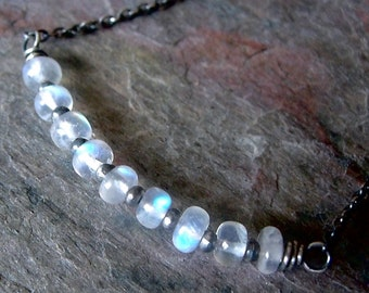 Rainbow Moonstone Sterling Silver Necklace - Rainbow Moonstone Bar Pendant on Sterling Silver Chain