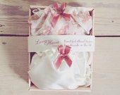 ON SALE 2 Panties Gift Box, Cream Satin Panty & Floral  Panty / bridesmaid favour / Valentines gift / Panty box / multipack panties/ bachelo