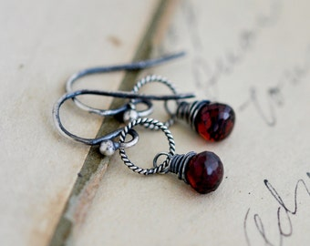 Garnet Earrings, Drop Earrings, Wire Wrapped, January Birthstone, Dangle Earrings, Sterling Silver, Dark Red, Garnet Jewelry,