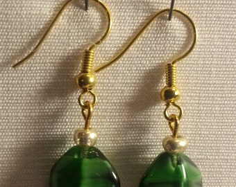 V013-1 Green Banded Glass Bead Earrings