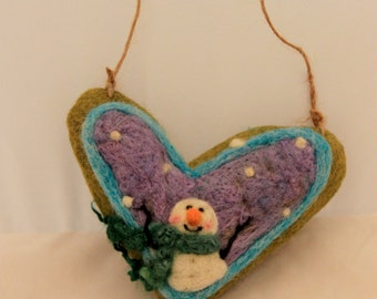 Snowman Heart Needle Felted  Prim Snowman Heart Felted on Burlap #1934