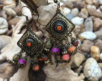 Tribal Bronze Dangle Earrings