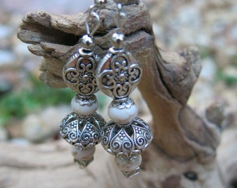 White Turquoise & Antique Silver Dangling Earrings
