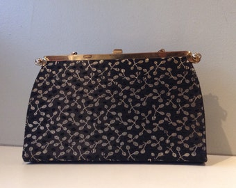Vintage 1950's Black and Gold Convertible Reversible Handbag Purse