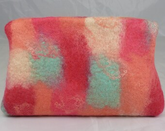 Pink Felt and Silk Magnetic Clasp Clutch Bag