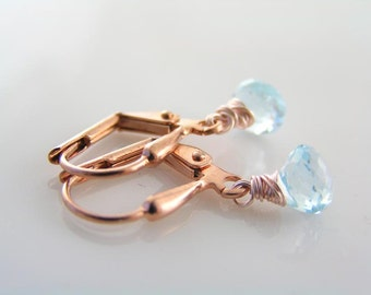 Rose Gold Earrings, Blue Topaz Earrings, December Birthstone Earrings, Small Earrings, Rose Gold Jewelry, Blue Topaz Jewelry, E2144