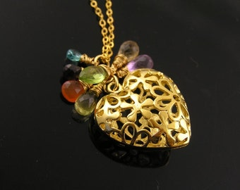 Filigree Heart Necklace, Gemstone Necklace, Romantic Jewelry, Valentines Day Gift, Gemstone Cluster Pendant