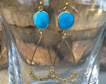 SALE-- Turquoise with gold hoop