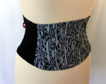 Circuit Board Black and White Corset Belt Waist Cincher Any Size B LAST ONE