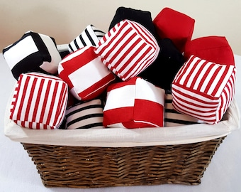 MOVING SALE Red White and Black Striped Cube Plushies Puzzle Pillow 3D Cubes Stuffed Toy Set of 25