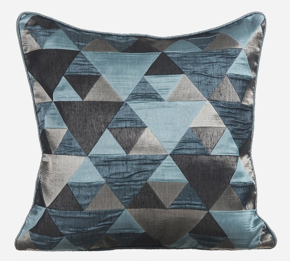 Teal Throw Pillows for Bed 16x16 Pillow Covers Silk Jacquard