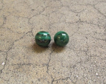 25% Off SALE AAA Natural Malachite Ball Round Briolette Beads 12mm, 1/2 Top Half Drill Drilled  Matched Pair Beads