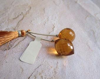 Fat Pointer Briolette Beads Citrine Quartz Matched Pair , 18mm x 14mm Gemstone