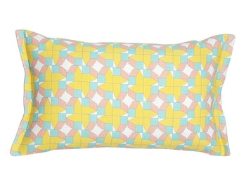 Yellow cushion, scandinavian pattern, decorative scatter pillow