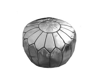 nursery footrest, ottoman, pouf, moroccan pouf, seating, handmade, faux leather, silver and black, stuffed