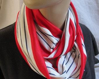 SALE - Red White and Blue Stripe Cowl/Circle Scarf/Infinity Scarf (5394)