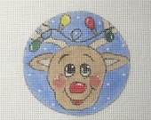 Rudy Reindeer with Christmas Lights Handpainted Needlepoint Canvas Ornament