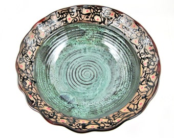Large serving bowl, pottery bowl, Modern ceramics, red and green wedding gift - In stock SB058C