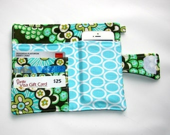 Cellphone iPhone or iPod Wallet,Cellphone Case, Business Card organizer, Loyalty card wallet, Gift Card Holder Dandelion  Ready to Ship