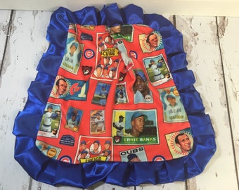Cubs lovey blanket with satin ruffle
