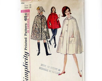 1960s Vintage Sewing Pattern CAPE with Pockets - Simplicity 5303 / Size 10