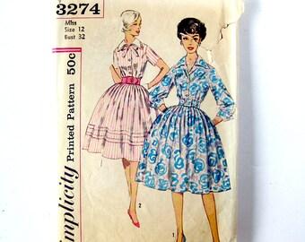 1959 Vintage Sewing Pattern - Simplicity 3274 - Full Skirt Shirt Waist Dress - Rockabilly Style / Size 12