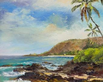 BIG BEACH MAUI Original Palette Knife Oil Painting Art Hawaii Secret Cove Paako Tropical Ocean Island Palm Tree Lifeguard Makena Hawaiian