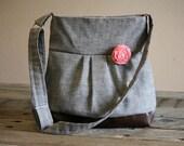 Handbag, Crossbody Purse, Messenger Bag, Medium Faux Leather Bag, Grey Purse, Gray Jackson, Vegan Leather, Pleated Purse