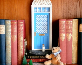 Blue Fairy Door or Tooth Fairy Door, in periwinkle, with mail slot and stationery, Fairy info and Fairie Dust