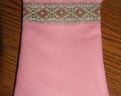 Pink LEATHER Eyeglass/Sunglass Case w/Embroidered Trim