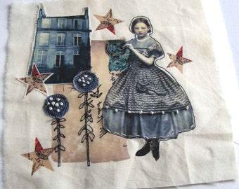 Inspired by Alice - Original handmade textile art, textile collage, imaginative textile
