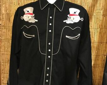 Cool Skull Embroidered Vintage Rockmount Western Shirt Size large