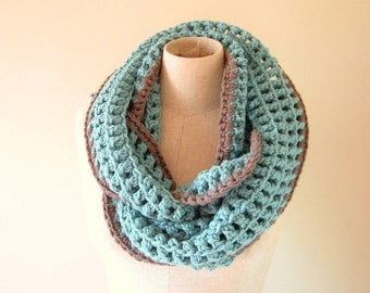 Infinity Loop Chunky Scarf - Soft Cowl - Warm Winter Handmade Crochet Knit Circle Long Scarf - Hooded Scarf - Neck Warmer - Teal and Grey
