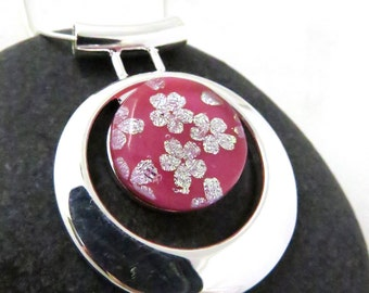 Cherry Blossoms Necklace - Fused Glass and Silver - Asian Inspired Necklace