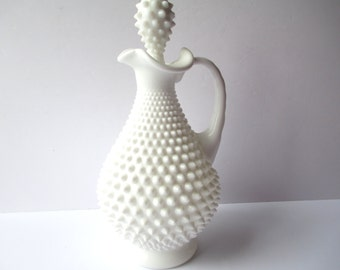 Vintage Fenton Milk Glass Hobnail Decanter