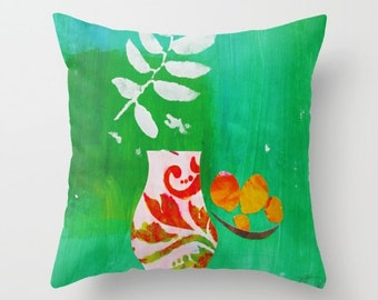 MICCI COHAN HOME Collection / Pink Vase, Peaches and Fern Green / Bold / Boho / Pillow Case