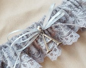 Grey Silver Lace Bridal Garter Personalized Elegant Pearl Accent Gray Wedding Garter