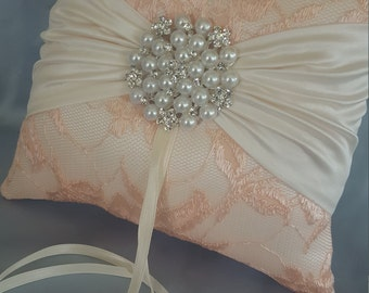 Peach Ring Bearer Pillow Ivory Lace Ring Pillow Pearl Rhinestone Accent