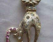 Cat Kitten Rhinestone Pink Brooch Gold Aurora Clear Vintage Pin