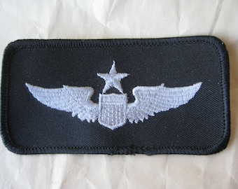 Aviation Military Patch Wings Star Silver Black Vintage