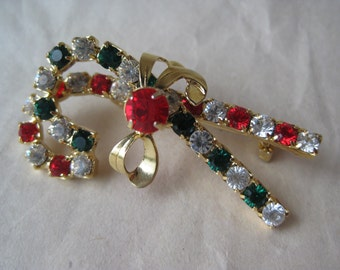 Christmas Candy Canes Rhinestone Brooch Bow Green Red Clear Gold Vintage Pin
