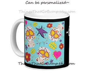 Fun skull mug personalized choose your desired size Day of the dead Halloween skulls mug hearts flowers groovy kawaii skulls coffee mug tea