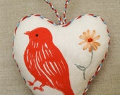 Original block printed linen heart, hand embroidered felt back